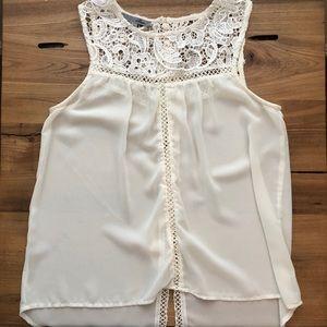 Misha Ivory Sleeveless Blouse with Lace Detailing